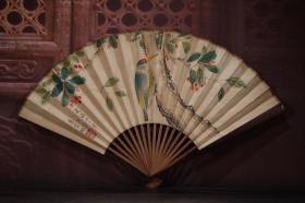 红木手绘纸折扇13 长30cm   宽2cm   扇面展开52cm