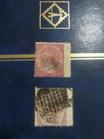 古典女王邮票 2张不同 大宽边 极少见 尤其第二枚30分面值宽边 目录未标注价格