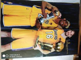 NBA球星海报(A面科比.布莱恩特 保罗.加索尔 双剑合璧赢天下 B面天国王朝 洛杉矶湖人)