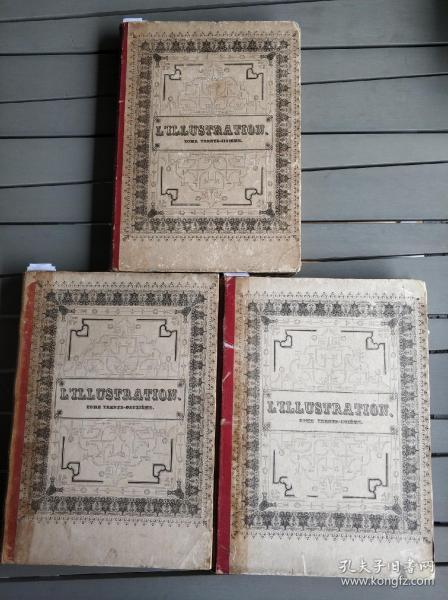 第二次鴉片戰爭全記錄!!!法國原版古董報紙《畫刊》1858年上下半年與1860年下半年合訂本。三冊均為牛皮印花精裝。此種裝幀甚少。戰爭畫面細膩,路線詳盡,所留下來的影像珍貴。本店店主十年搜尋所得孤品!
