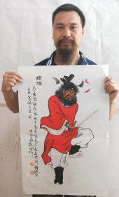 秦敬斌老师绘画作品【钟馗】尺寸70*45厘米百分百手绘真迹