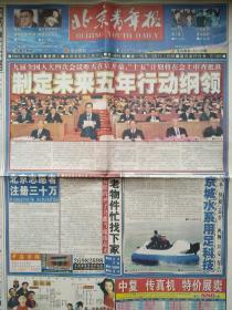 """北京青年报,2000年3月6日之""""全国人大昨天开幕;十五刚要图解;洋大片激活科普市场;北京计划铺水路;罗布泊发现汉长城;全球通新套餐;科学摧毁法lun功之八,保护青少年。""""1—8,13——16版,详细见图。"""