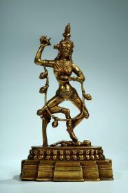 清代,铜鎏金摩利支天造像