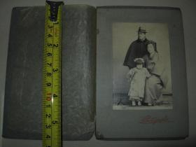民国早期  日本老照片1枚  【一家三口】① 硬底板带保护纸