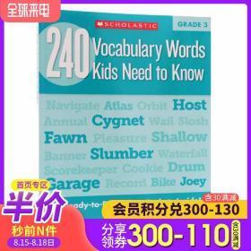 英文原版Vocabulary Words Kids Need to Know Grade 3 三年级孩子需要知道的240个单词词汇 Scholastic学乐练习册