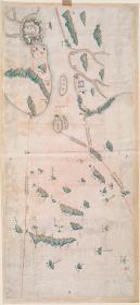 古地图1731 温州镇标中营海汛舆图 清雍正9年后。纸本大小34*73.38厘米。宣纸原色仿真。微喷