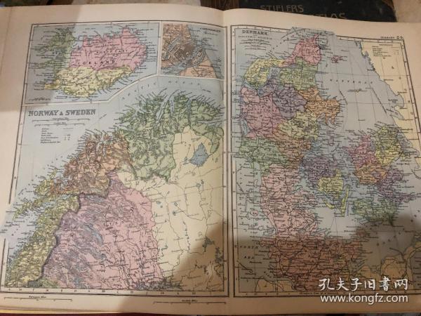 1895年挪威瑞典丹麥地圖
