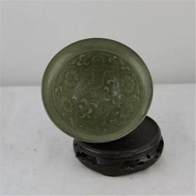 宋耀州窑雕花娃娃纹斗笠碗 做旧仿古瓷 复古装饰老货旧货收藏古玩
