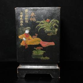 漆器描金彩繪春夏秋冬筆筒,高20公分,口徑18公分