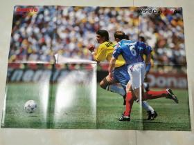 原版1994世界杯巴西贝贝托铜版大海报