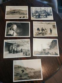 【民国时期外国科考队在山西省大同云冈石窟一带考察赶路老照片,中国人随从向导众多。】共计7张老照片,尺寸均为13.5X9.2厘米左右。珍贵史料!