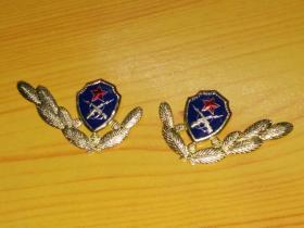 上世纪90年代初老87、89年武警小细叶长枪铁丝孔版蓝盾领花领章标志符号稀少经典收藏