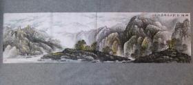 国画山水山乡初秋 六尺对开横幅画心 原稿手绘真迹