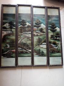 老玻璃画四条屏,年代清代民国,永远保真,售出不退。图案古色古香,立体感很强,栩栩如生,及其难得,价格小高,售出不退。
