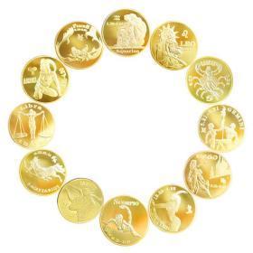 十二星座纪念章12枚全套 欧美硬币美国硬币收藏品幸运守护星座币决策币占卜币占星币