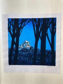 近代日本版画 《HIMEJI CASTLE》 克里夫顿卡尔胡 编号31/100  1979年创作 收藏佳品!