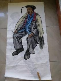 国画原画人物作品一幅138x68cm
