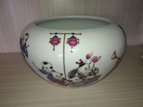 景德镇陶瓷工艺名家杜铭生作品(童子图)文房水盂。。。