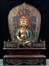描金木胎漆器釋迦摩尼坐像【帶佛龕】
