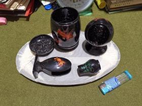福建脱胎漆器 烟具六件套 原包装  金鱼水草图案