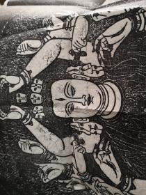 苏州寒山寺藏碑,千手千眼观世音菩萨,敦煌莫高窟第三窟元代造像,拓片尺寸60*78CM,约上世纪九十年代拓印(缺陷:墨色较浅,晕墨,小破洞,折皱等)
