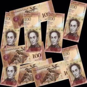 10张   委内瑞拉100玻利瓦尔美洲钱币纸币货币纸钞票