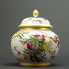 清乾隆年制粉彩金边福寿图盖罐茶叶罐 古董瓷器 古玩精品摆件收藏