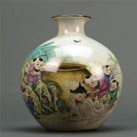 大清乾隆年制粉彩童子司马砸缸图花瓶 古董瓷器 古玩收藏摆件仿古