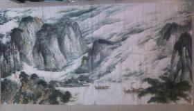 四川著名 画家 周老何老合作山水画蜀山锦绣  八尺巨幅 原稿手绘真迹 保真