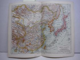 原始地图,超过80年  《中国 ,日本 ,内蒙古,日本,韩国,满洲,西藏   》约1890年出版, 26.5cm ×21.0cm