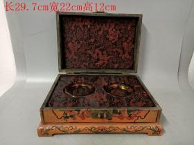 乡下收的清代漆器盒装琥珀手镯一对