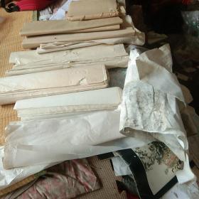 (重6.5斤)旧纸,杂纸,一堆,有透明纸,不知是什么纸,还有几卷是草纸或毛边纸或竹料宣纸,我不懂得,新旧不一,尺寸不一,品相不一。大家看图。(另有几卷老白纸,大约不是宣纸,我真不懂啊,)装裱修复字画书籍用。