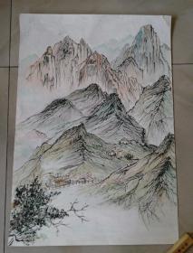 国画原画山水作品一幅65x45cm