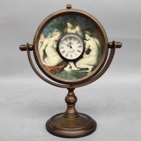 歐美風情純銅鏡子機械表, 尺寸如圖,重570克,