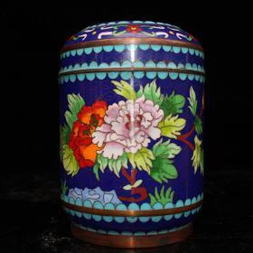 景泰蓝茶叶桶尺寸:10.5#10.5#14