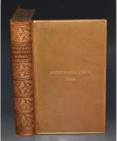 1865年The Poetical Works of John Milton 《弥尔顿诗集》全小牛皮豪华古董书 名坊Bickers出品 大字体大开本 品相上佳 碧玉光泽