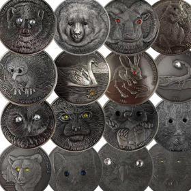 16套装蒙古动物镶钻纪念币外币 高浮雕镶钻银币纪念章500图格里克