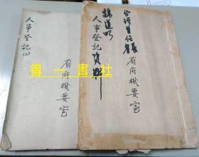 台湾首任省长 省府人事登记资料(手写本)