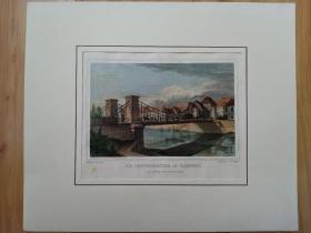 """19世纪手工上色钢版画《古城班贝克的标志建筑-- 横跨雷格尼茨河的路德维希桥,巴伐利亚州,德国》(DIE LUDWIGSBRüCKE IN BAMBERG)-- 出自19世纪德国画家、建筑师,路德维希·兰格作品 -- 班贝格位于雷格尼茨河畔,有小威尼斯""""之美称,拥有上千年的历史,曾是神圣罗马帝国皇帝和主教驻地,18世纪欧洲启蒙运动的中心 -- 版画纸张27*21.7厘米"""