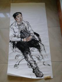 国画原画原作人物水墨画一幅138x68cm