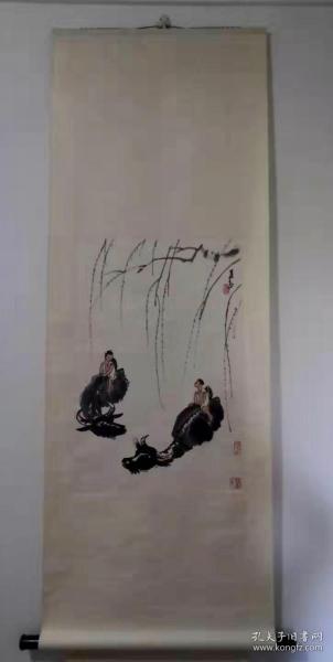 80年代朵云軒木版水印李可染《牧牛圖》,69x46厘米,立軸。