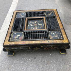 舊藏早期豪門大戶賬房核算對賬算盤桌 四面算盤 木胎漆器童子圖四方形算盤方桌