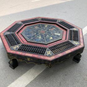 舊藏木胎漆器八仙圖八卦八角算盤桌