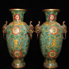 景泰蓝掐丝对花瓶尺寸:12.5#9#23