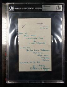 """""""英国陆军元帅"""" 蒙哥马利将军 1951年亲笔信件  三大签名鉴定公司之一Beckett(BAS)鉴定,并采用特殊收费8×10版大盒封装。"""