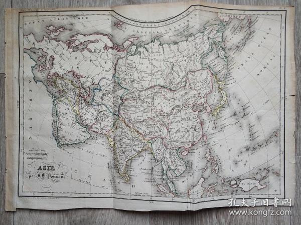 1838年法國出版的大清地圖。此圖是從出版的書籍中拆下來的。圖上標有拆圖者記錄書本出版的年份1838年。鋼板雕刻手工上色的地圖。繪制者為Poirson,  雕刻者為Thierry。尺寸為34cmx24cm。