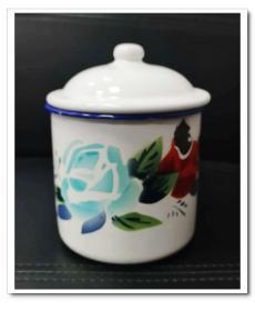 【满百包邮】老搪瓷茶缸 蝴蝶牌 花朵 品相好 14*10cm