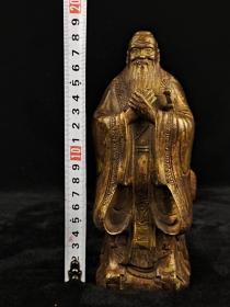 清代乾隆时期,铜鎏金孔子像,品相一流,尺寸如图!