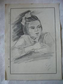 铅笔画:美丽的少女