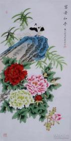 龚文桢花鸟国画牡丹鸽子纯手绘